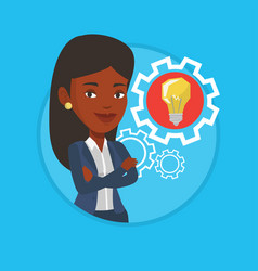 Woman with business idea bulb in gear vector
