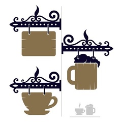 wooden decorative signs for vector image vector image