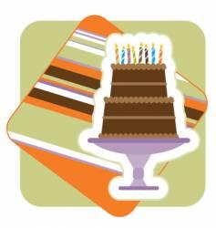 chocolate birthday cake illustration vector image vector image