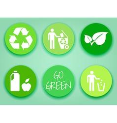 Flat green stickers set vector image vector image