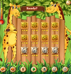 Game template with two giraffes in the background vector image vector image