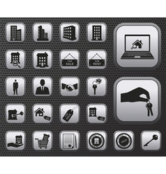 Metallic houses and real estate web icons set vector image