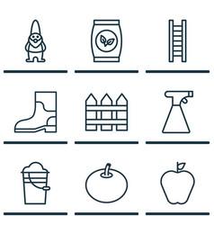 Set of 9 plant icons includes dwarf taste apple vector
