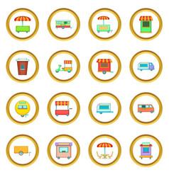 street food kiosk vehicle icons circle vector image vector image