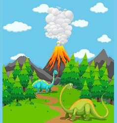 Two dinosaurs and volcano eruption vector