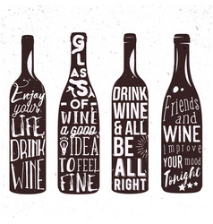 typography set of wine bottle silhouette with vector image