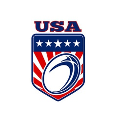 USA rugby ball stars stripes shield vector image vector image