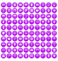 100 furnishing icons set purple vector