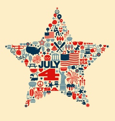 4th july icons symbols collage t-shirt design vector image