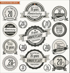 Anniversary retro badges collection 20 years vector
