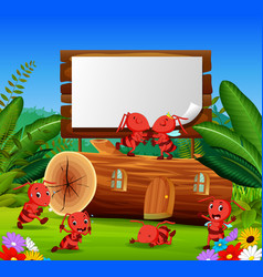 ants and beautiful wooden house with a wooden sign vector image