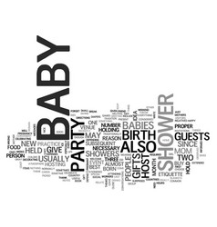 Baby shower etiquette text word cloud concept vector