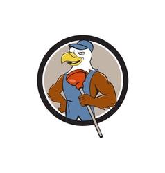 Bald Eagle Plumber Plunger Circle Cartoon vector
