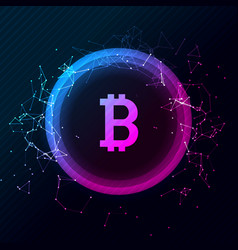 Bitcoin conceptual glowing background vector