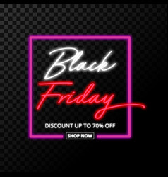 black friday neon sign isolated on transparent vector image