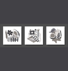 black white set abstract cards cubism elements vector image