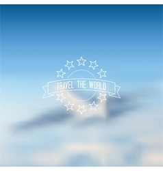 Blurred flying airplane background outline label vector image