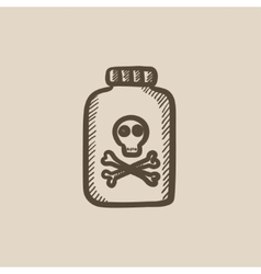 Bottle of poison sketch icon vector image vector image