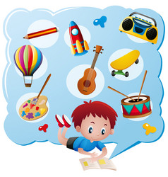 Boy and different toys and collections vector