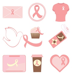 Breast cancer icons vector