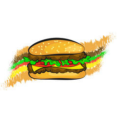 burger stuffed design vector image