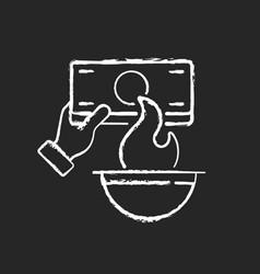 Burning money chalk white icon on black background vector