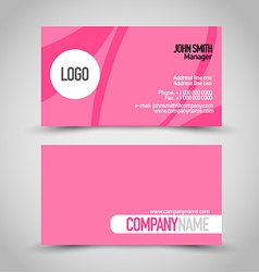 Business card set template Pink color vector
