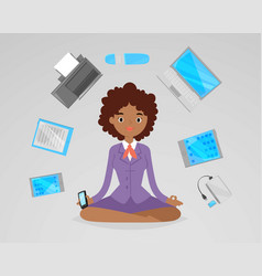 Business woman meditation relax with office vector