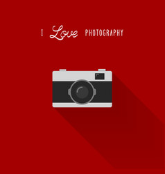 Camera icon with i love photography text vector