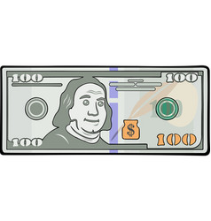 Cartoon one hundred dollars vector