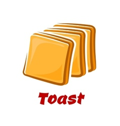Cartoon toasted bread slices isolated on white vector image