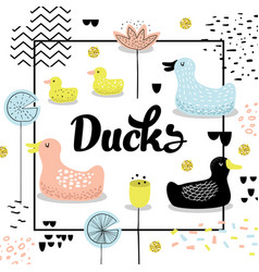 Childish design with cute ducks babackground vector