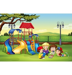 Children reading in the park vector image