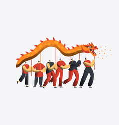chinese new year dragon dance parade asia lunar vector image