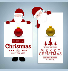christmas card with santa clause and balls vector image