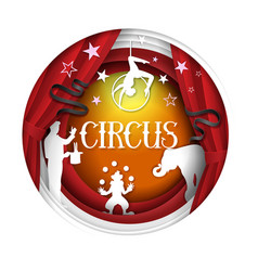 Circus paper cut poster banner design vector