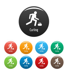 curling icons set color vector image
