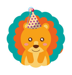 cute lion party hat birthday vector image