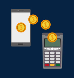 Dataphone nfc payment wih coins and smartphone vector