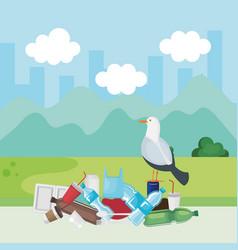 Dove bird in toxic plastics contamination vector