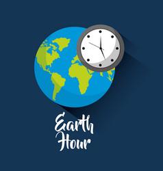 Earth hour global world clock saving vector