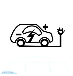 electric car linear icon electrical cable plug vector image