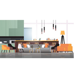 Empty coworking space modern office room interior vector