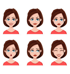 Facial expressions of a cute woman vector
