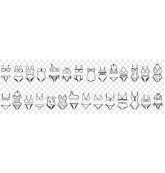 female bikini swimwear doodle set vector image