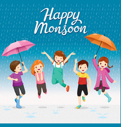 Five children with umbrella and raincoat jumping vector