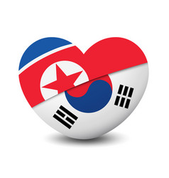 Flag of north korea and south korea heart shape vector
