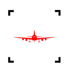 flying plane sign front view red icon vector image