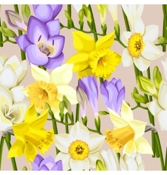 Freesia and daffodil seamless background vector