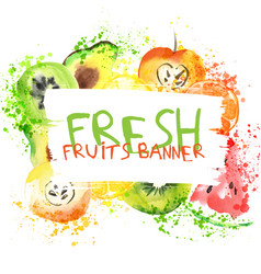 fresh fruit watercolor banner watercolored apple vector image